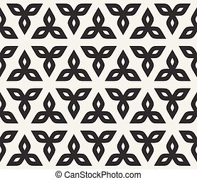 Vector Seamless Black And White Floral Rounded Triangle Petals Pattern