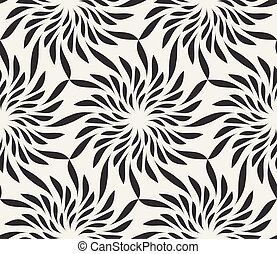 Vector Seamless Black and White Floral Shape Twirl Pattern....