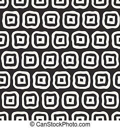 Vector Seamless Black and White Hand Drawn Rounded Rectangles Pattern
