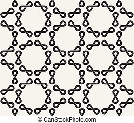 Vector Seamless Black and White Infinity Sign Rounded  Pattern