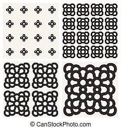 Vector Seamless Black And White Rounded Ornaments Pattern Set
