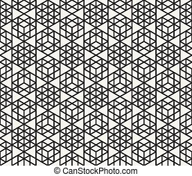 Vector Seamless Black And White Triangle Grid Geometric Pattern