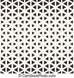 Vector Seamless Black And White Triangle Halftone Grid Geometric Pattern