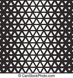 Vector Seamless Black And White Triangle Halgtone Grid Geometric Pattern
