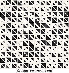 Vector Seamless Black And White Triangle Irregular Grid Geometric Pattern