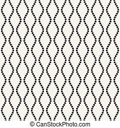 Vector Seamless Black and White Vertical Dotted Wavy Lines Pattern