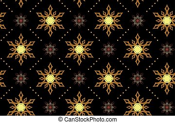 vector seamless black texture with snowflakes