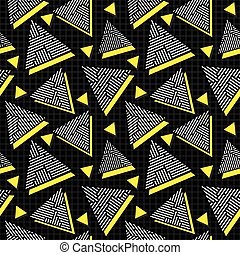 Vector Seamless Black White Yellow Vintage 80's Triangle Jumble Line Pattern on Square Grid