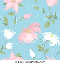 Vector seamless blue background with spring flowers