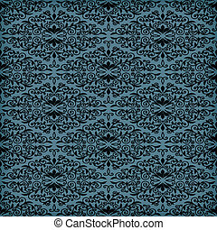 Vector Seamless Blue Floral Pattern
