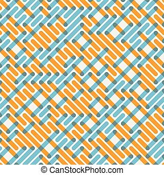 Vector Seamless Blue Orange Intersecting Lines Grid Maze Pattern