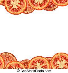 Vector seamless border of tomato slices on white background