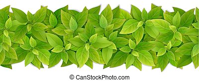 Vector seamless border with green leaves.