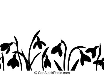 Vector seamless border with silhoette of snowdrops on white background.