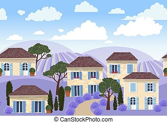 Vector seamless border with white french houses