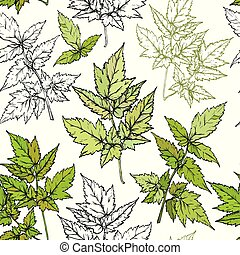 Seamless botanical pattern with branches and leaves