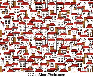 Vector seamless cartoon pattern, made of houses.