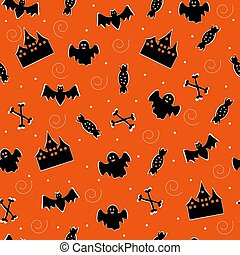 vector seamless cartoon pattern with a scary bat ghost