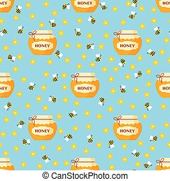 Vector seamless cartoon pattern with jar of honey and bees on blue background in flat style.