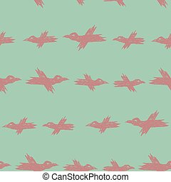 Vector seamless cartoon pattern with pink sketch crows on blue