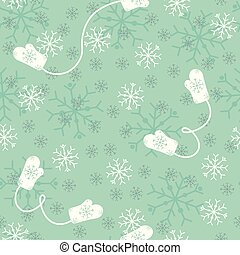 Vector seamless Christmas background with doodle mittens and snowflakes.