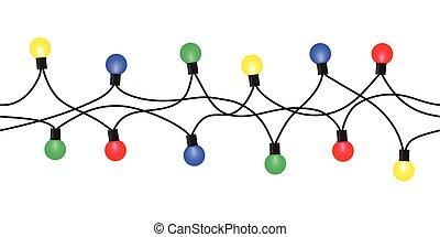 Vector seamless Christmas light set garland isolated on...