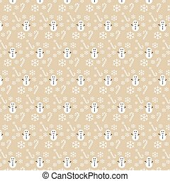 Vector seamless Christmas pattern with snowflakes and snowman