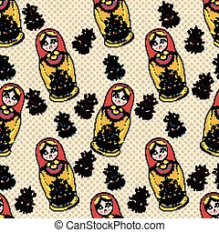 Vector Seamless classic folklore pattern of Russian Dolls and flowers.