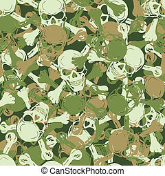 vector., seamless, cráneo, camuflaje, patrón
