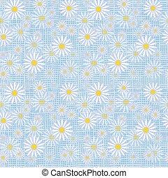 Vector seamless cute beautiful minimalist graphics daisy flower pattern.