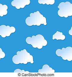 Vector seamless cute cartoon paper or plastic clouds / sky background