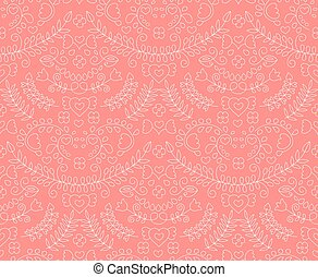 Vector seamless cute floral pattern with laurels, hearts, wreaths.