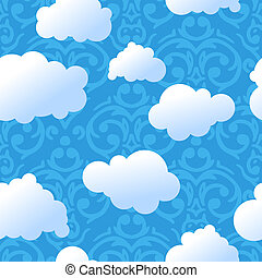 cute sky cute air balloon with clouds and stars over night vector
