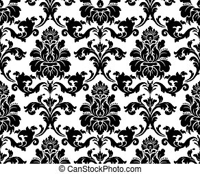 Vector. Seamless damask pattern. Fabric swatch. Black and...