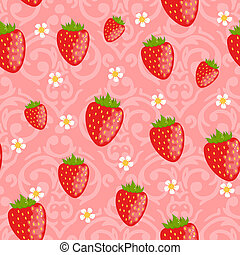 Vector seamless damask pattern with cute strawberries