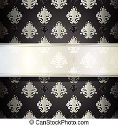 vector seamless damask wallpaper with place for your text -...