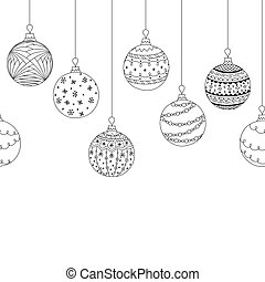 Vector seamless decorative border from hand drawing christmas tree ball toys. Greeting invitation Christmas background. Coloring page book