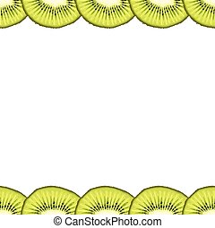 Vector seamless decorative border from kiwi slices on white background