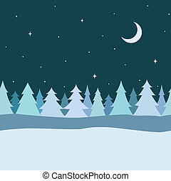 Vector seamless decorative border from winter pine tree, fir tree, snow, night sky with star and moon