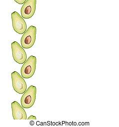 Vector seamless decorative border of avocado slice on white background. Avocado cut texture