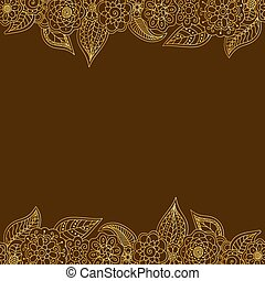 vector seamless decorative border of gold doodle floral elements with copy space