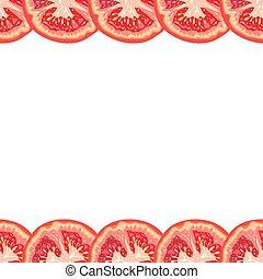 Vector seamless decorative border of juicy tomato slice on white background
