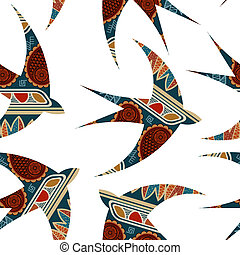 Vector seamless decorative tribal pattern with swallows