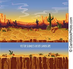 Vector seamless desert landscape. Cartoon poster, banner for game. Background, panorama with wild nature, cactus, rocks, trees, mountains sunset sky, canyon dry ground. Western scene illustration