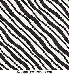 Vector Seamless Diagonal Wavy Lines Pattern. Modern monochrome texture.