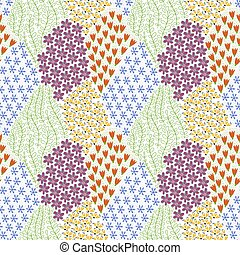 Vector Seamless Doodle Pattern with Flowers