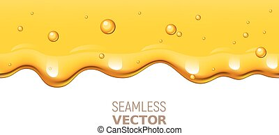 Vector seamless dripping honey on white background