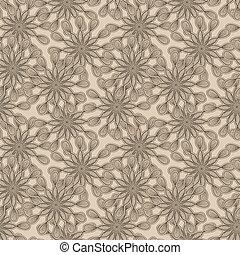 vector, seamless, extraño, patrón floral, flores, monocromo