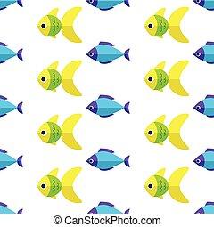 Vector seamless fish pattern. Ocean or aquarium background