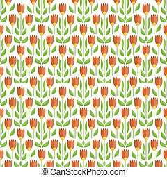 Vector Seamless Flat Pattern with Flowers